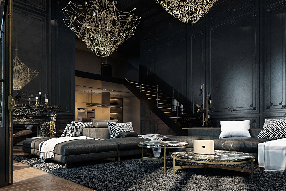Apartment, Paris, Black, Gold Chandeliers, Living Room