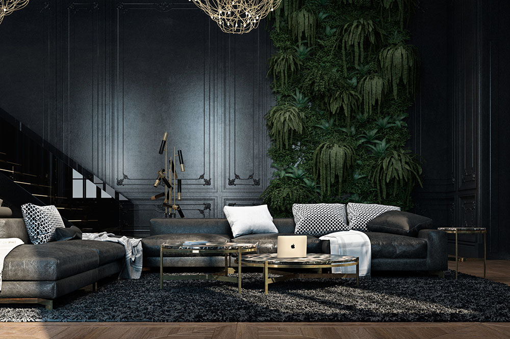 Apartment, Paris, Black, Indoor Trees, Living Room