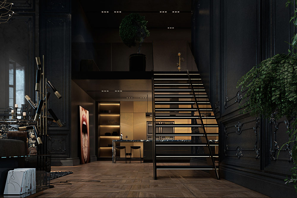 Apartment, Paris, Black, Staircase, Living Room