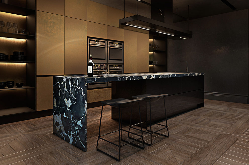 Apartment, Paris, Black, Marble Kitchen
