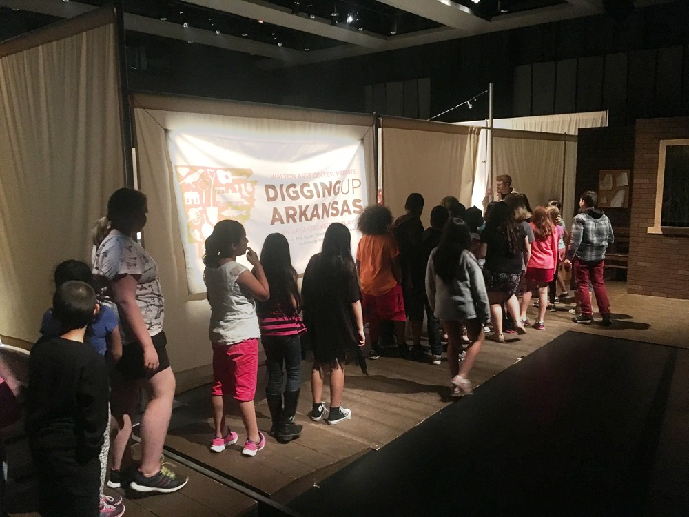 Children entering the new Starr Theater.