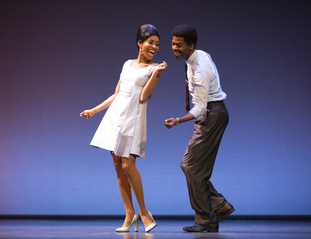Allison Semmes as Diana Ross, Julius Thomas III as Berry Gordy. MOTOWN THE MUSICAL First National Tour. (C) Joan Marcus, 2015.jpg