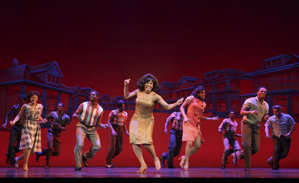 Patrice Covington as Martha Reeves (center) & Cast. MOTOWN THE MUSICAL First National Tour (c) Joan Marcus, 2014..jpg