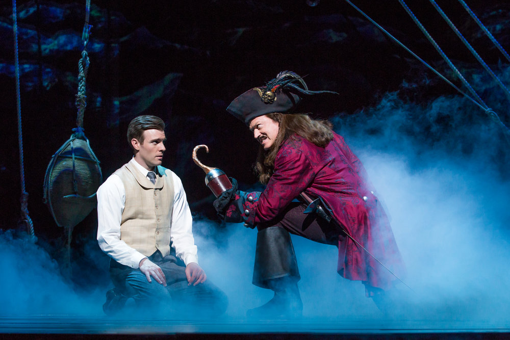 Billy Harrigan Tighe as JM Barrie and Tom Hewitt as Captain Hook in Finding Neverland Credit Jeremy Daniel_IMG_3238.jpg