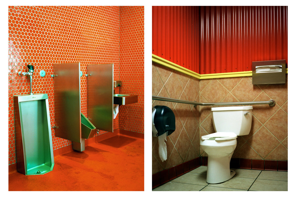 red and orange, restrooms, medium format analog