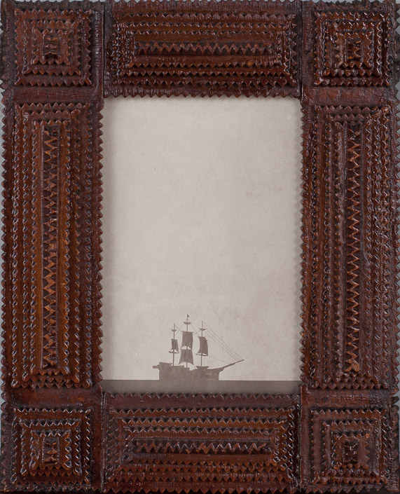Across the Sea                              Pigment print, antique Tramp Art style frame