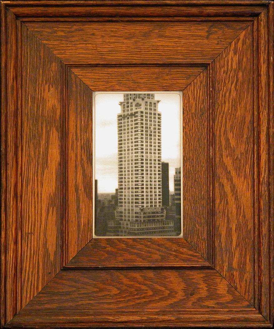 Chrysler         silver gelatin print, antique oak frame