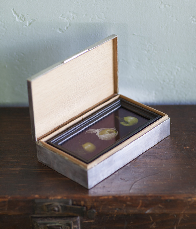 Jonathan's Orchard     Pigment print, artist made frame & vintage silver box