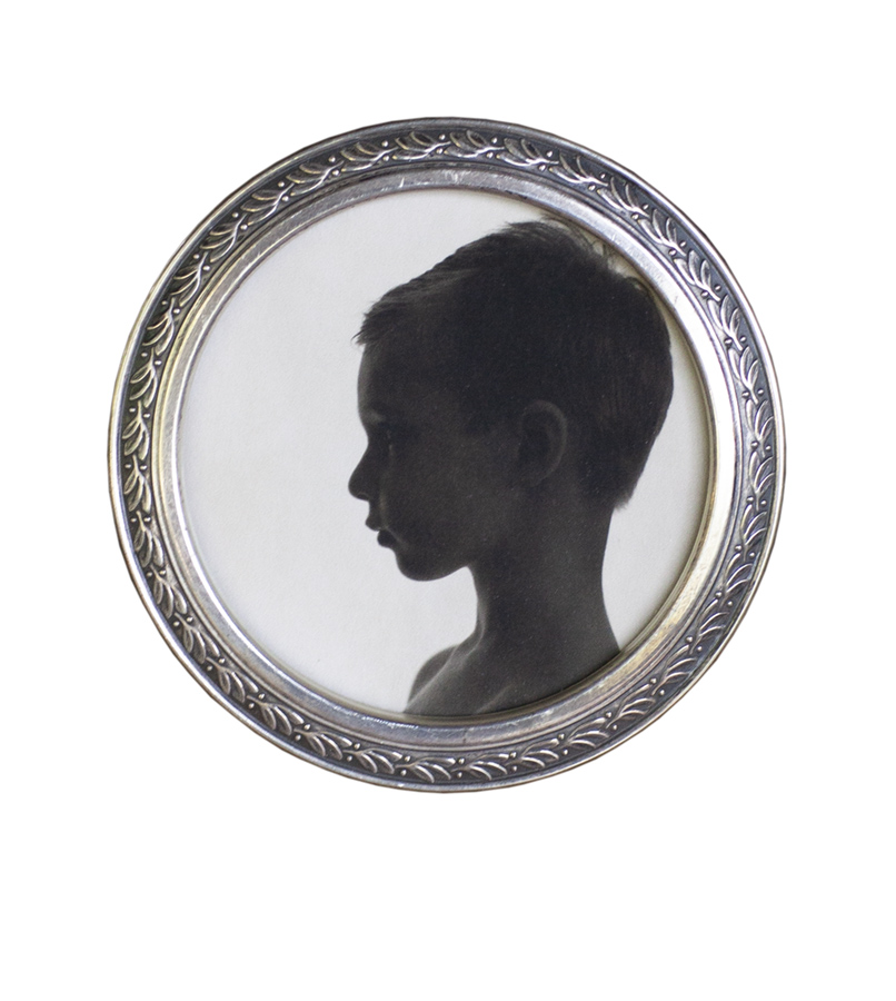 "Portrait of My Son      Pigment print, antique frame       3"" diameter"