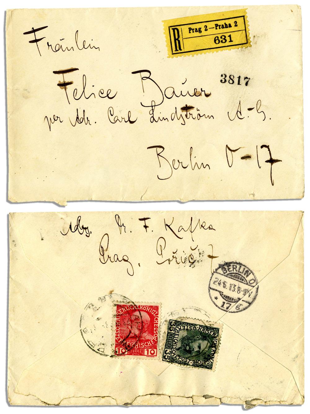 Kafka'nın Bauer'e neden evlenemeyeceklerini anlattığı mektubun zarfı. Kafka'nın zor bulunur kendi el yazısıyla imzasıyla zarf 9.582 dolara satıldı.