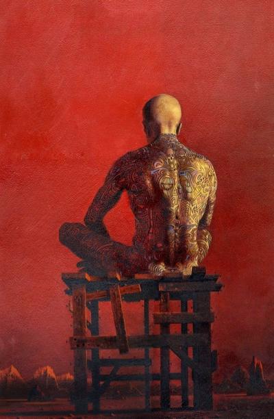 Joseph Mugnaini - Bradbury hkayeleri ona esin kaynağı olmuş. Bradbury'nin bir diğer hikaye kitabı The Illustrated Man'in kapağında da kullanılmış.