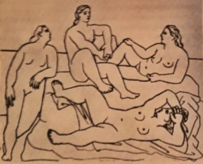 """Kübiz  m deneyimini tabii ki unutmadı Picasso, sırt üstü yatan kadın Kübizm mavi gezegene uğramadan çizilemezdi mesela. Ancak o ilerlemeci, heyecanlı,  Apollinaire 'in """"kekeme"""" dediği özelliğini artık kaybetmişti. Dahi yeniden doğdu."""