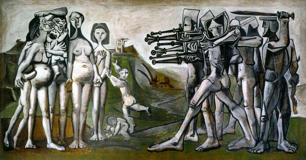 Picasso, Kore'de Katliam, 1951: Absürt resimlerine örnek. Picasso, oyuncuklarıyla elde etmeyi amaçladığıetkinin tersi ortraya çıkmış ve resim katliam havasını yitirmiş.