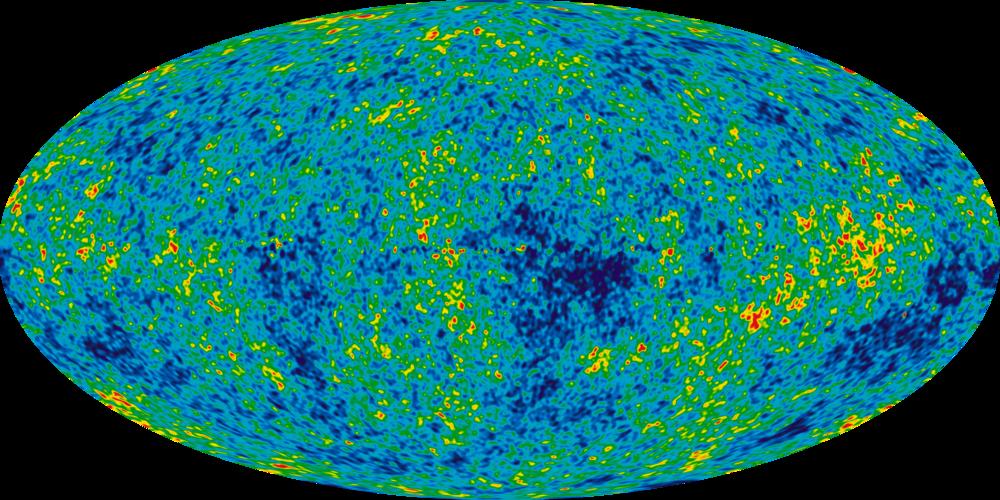 Kozmik Mikrodalga Arkaplan Işıması- Taa Büyük Patlama'dan kalan fotonlar, bu görüntüye bebek evrendeki yoğunluk farkları olarak da bakabiliriz. Bu sayede madde belli yerlerde yoğunlaşıp galaksileri oluşturabildi.