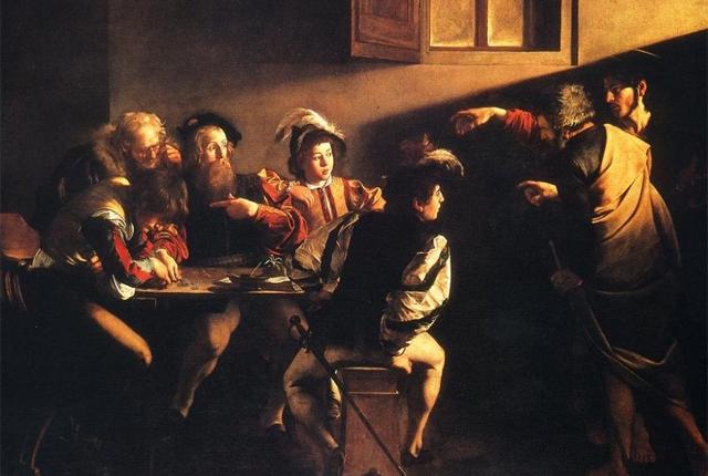Caravaggio - Aziz Matthew'un Çağrılması (1600) Buyrun bu da Caravaggio'nun masası.
