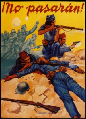 "İspanya İç Savaşı, propaganda posteri - Cumhuriyetçiler - ""No Pasaran!""(""Geçit Yok!"")"