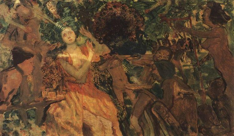Konstantin Somov - Bahcedeki Ludmila (1897)