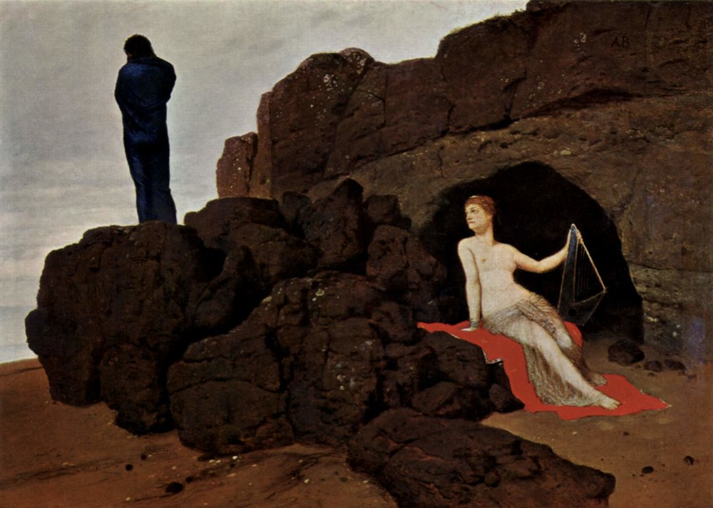 Arnold Bocklin - Odysseus ve Kalypso (1880) Bugün Basel- Kunstmuseum'dadır.