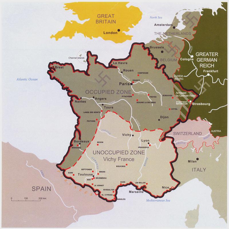 Nazi işgalindeki Fransa ve güneyde Nazi güdümündeki Faşist Vichy Fransası