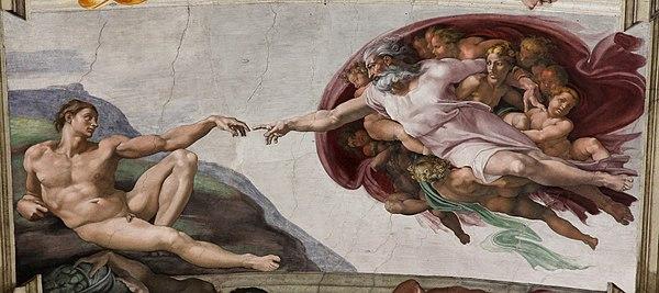 """Michelangelo - Creazone di Adamo (Adem'in Yaradılışı) - Hikayede, """"Baba'ya dönüşme (Tanrılaşma)"""" sürecinde Michelangelo'nun eserine atıfla işaret parmaklarının buluştuğunu görürüz..."""