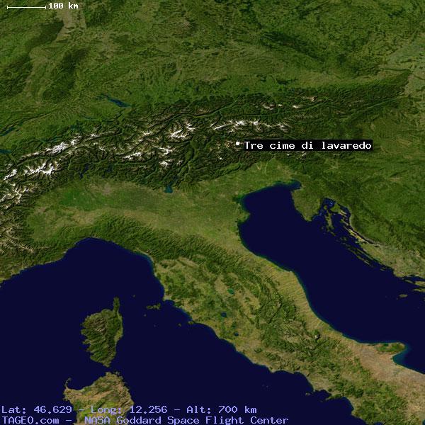 Tre Cime -Lavaredo lokasyon uydu görüntüsü