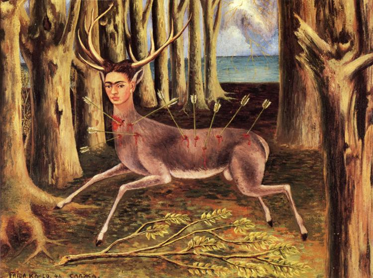 Frida Kahlo - Yaralı Geyik (1946)  Yine tek odaklı perspektif kullanımı; ağaçlar bu perspektif uyarınca daralan bir koridor oluşturuyorlar ve koridorun sonunda -ütopya olarak- ferah deniz var. Orada zorlayıcı orman koridoru yok, olasılıklar ve ferahlık var. Ancak yaralı Frida ümidi kesmiş, denize ve umuda sırtını dönmüş. Sayısız okla yaralı ve kırık bir dalın üzerinde. Umutsuzluğun resmi bu.