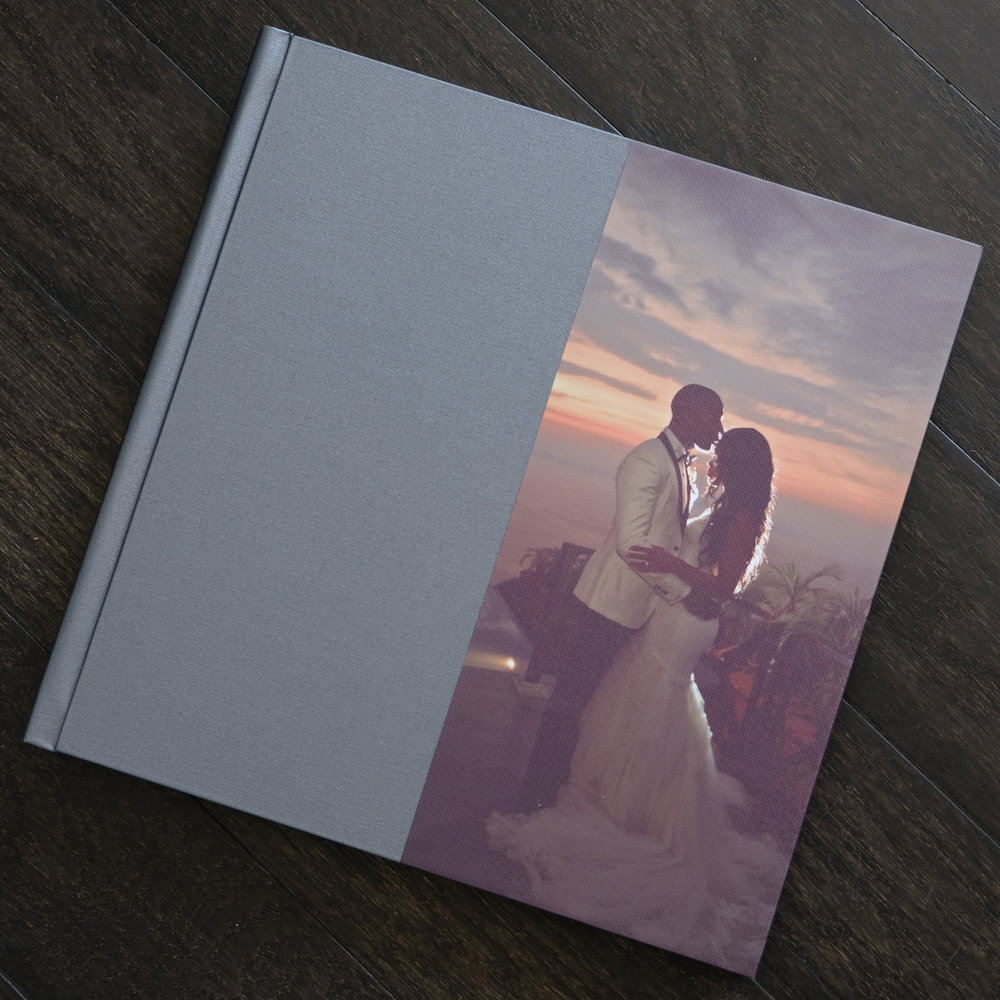 Jacquee and Desmond's island wedding was so idyllic that they couldn't resist putting their favorite shot as a canvas print. The sunset contrasted nicely against our grey Buckram cover making their wedding album timeless and unique.