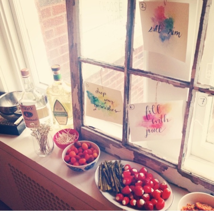 Love this old window frame I borrowed from a friend to display the bloody mary making steps for my party guests.
