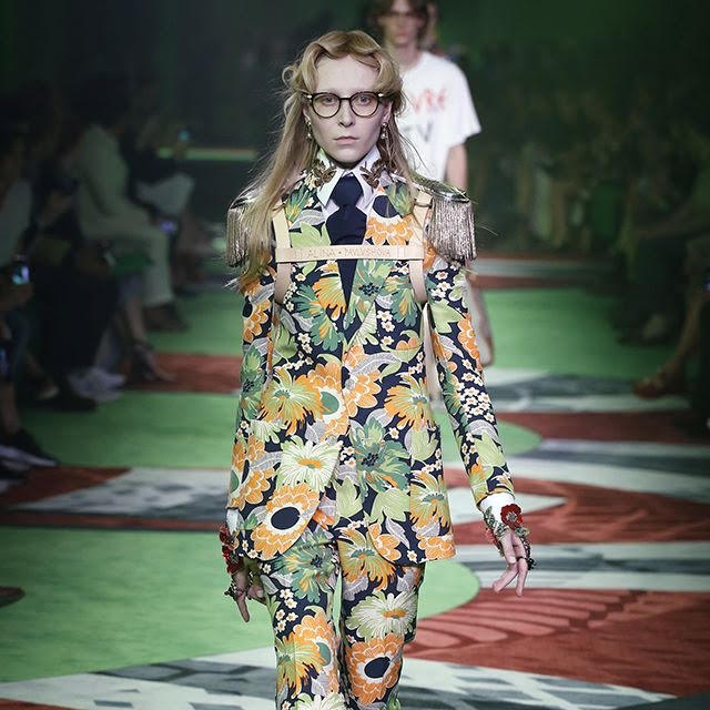 Gucci helped set the stage for Greenery with meticulous use of the hue in modern collections!!! Take me to the Gucci garden now! (photo by Getty Images)