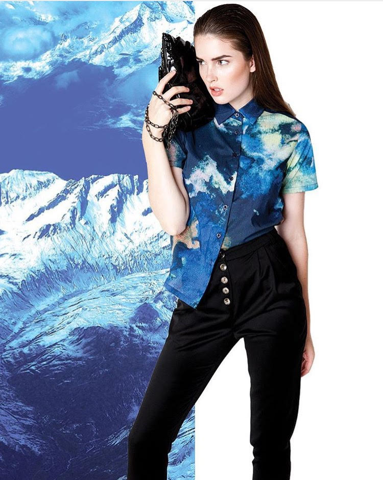 Shop the  Juniper Black Patent Clutch With Removable Chain .....and the gorgeous  Liquid Ink Painted Shirt !