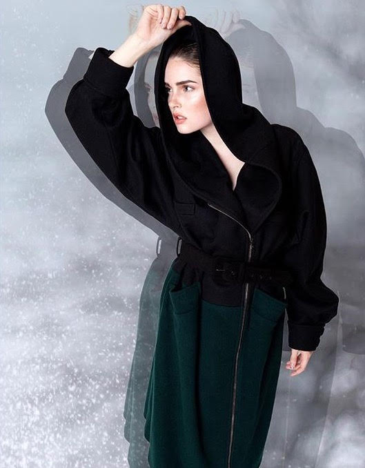 Caycee Black Grimm Riding Hood Zipper Coat In Black Wool With Hunter Green Contrast Hem...