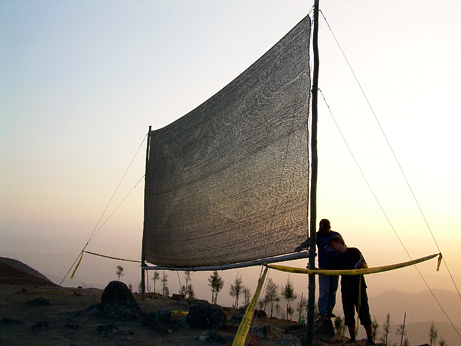 Kai Tiedemann (front) and local worker Segundo Velasquez inspect a net in April 2007 that Tiedemann and Anne Lummerich designed to collect water from fog in Bellavista, Peru. © Anne Lummerich