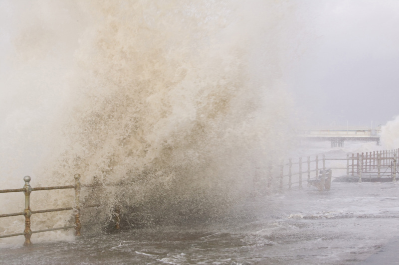 The January 18th, 2007 storm saw hurricane force winds lash much of the UK, killing 13 people. Blackpool promenade was closed as waves crashed over the sea wall flooding the road.
