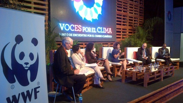 David Reed (left) moderating an adaptation fund panel at COP 20 in Lima, Peru. © WWF-US