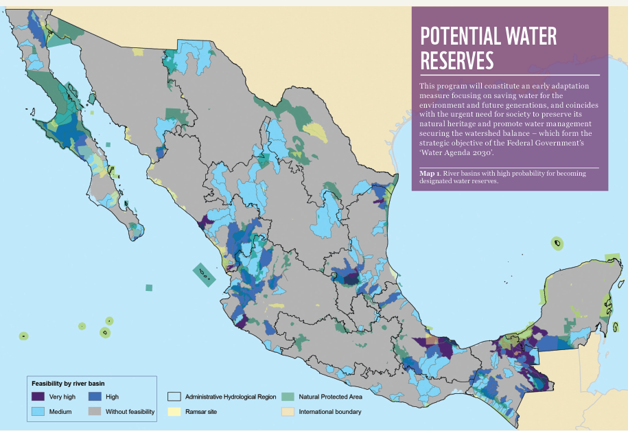 (Figure 1) Potential water reserves for the environment in Mexico. ©WWF-Mexico