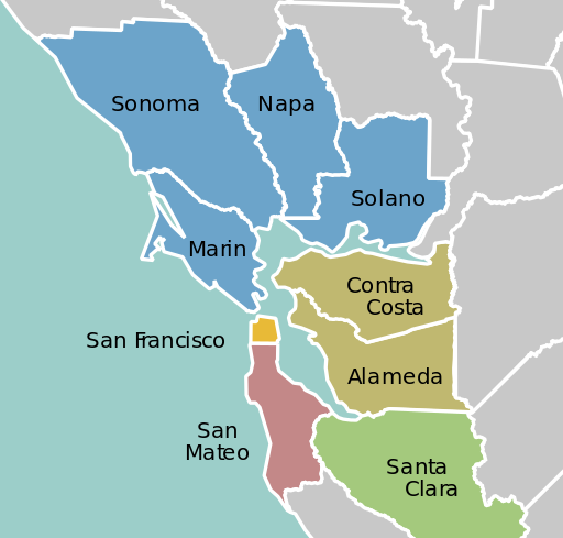 California Bay Area county map. © Creative Commons.
