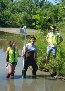 The installation of a sensor at Ellsworth Pond. © 2016 Real Time Water Systems Lab