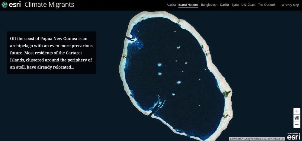 "Image is a screengrab from the 2017 Story Map ""Climate Migrants,"" by the Esri Story Maps Team, accessible at <http://storymaps.esri.com/stories/2017/climate-migrants/index.html>."