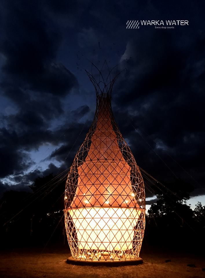Warka with photovoltaic illumination (2017). Photo: Warka Water.