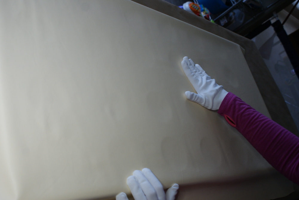 Leather being applied to a Diego interior
