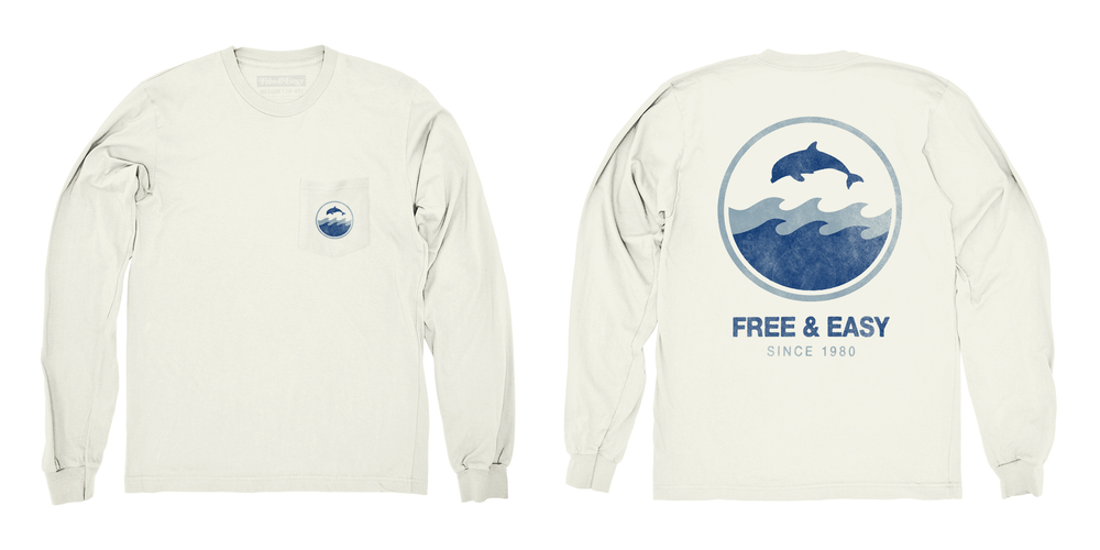 DOLPHIN WAVE LS POCKET TEE   STYLE #  LS0501   WHOLESALE: €34  SUGGESTED RETAIL: €75
