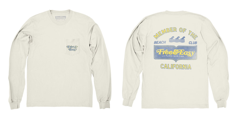 BEACH CLUB LS POCKET TEE   STYLE #  LS0701   WHOLESALE: €34  SUGGESTED RETAIL: €75