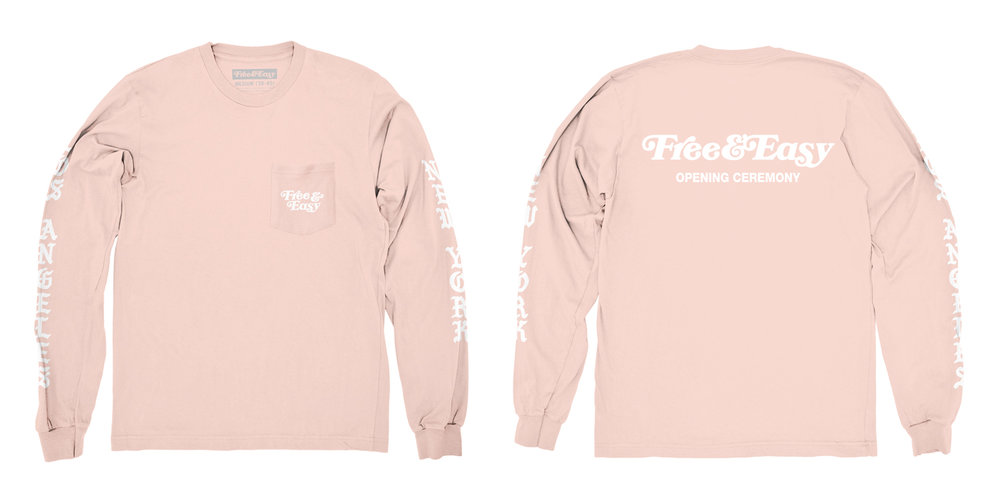 BLACKLETTER LS POCKET TEE (BLUSH)