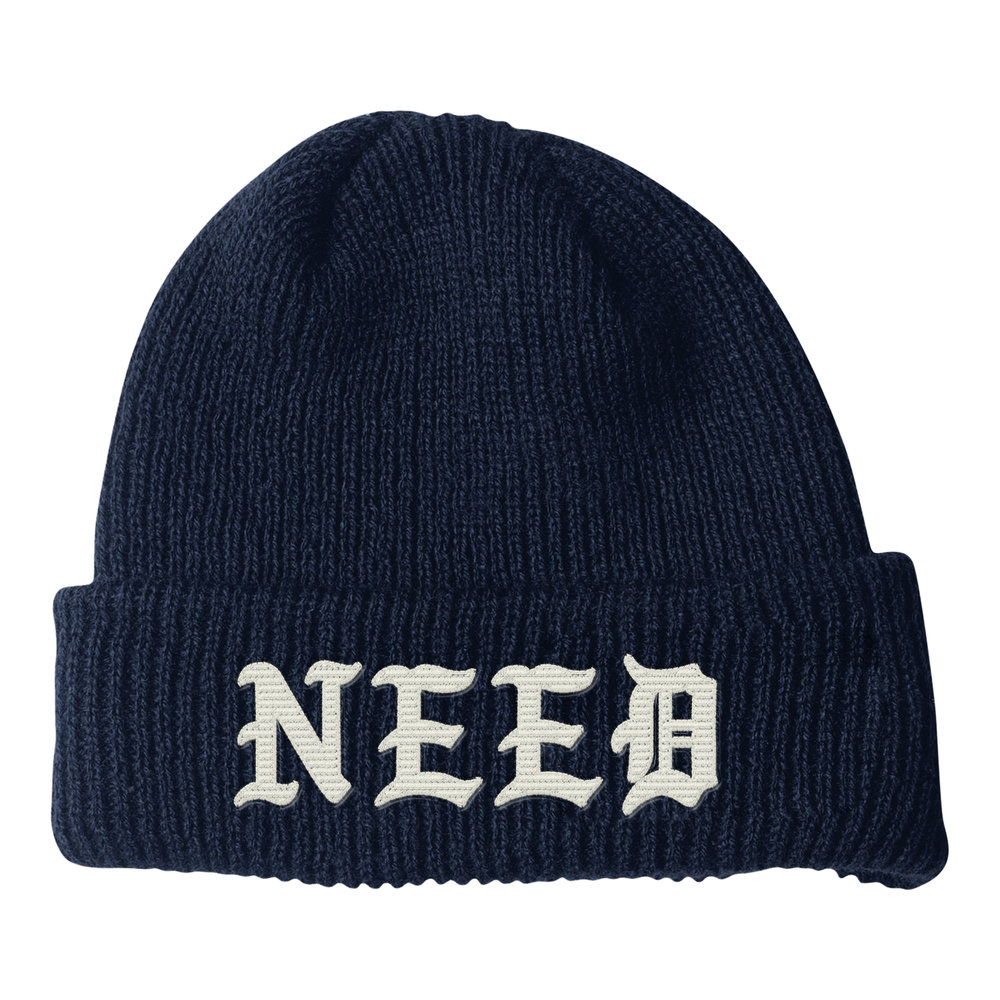 NEED BLACKLETTER BEANIE (NAVY)