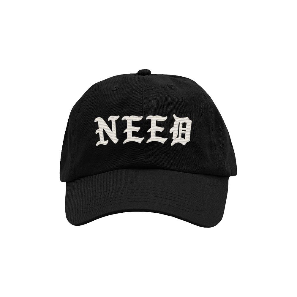 NEED BLACKLETTER DAD HAT (BLACK)