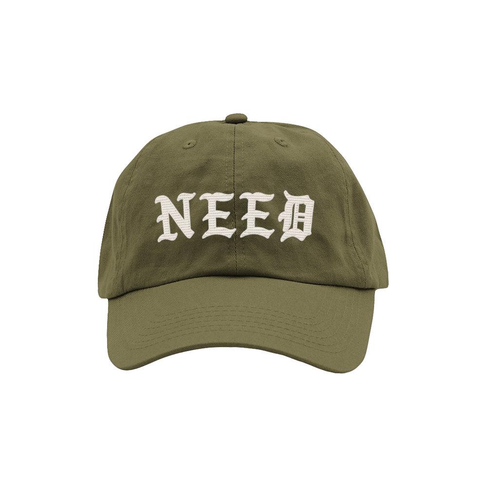 NEED BLACKLETTER DAD HAT (OLIVE)