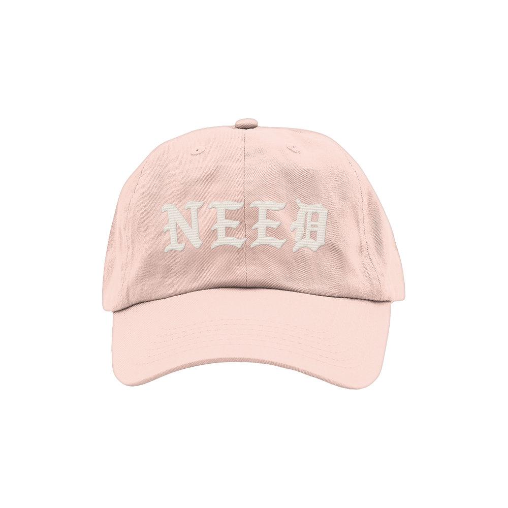 NEED BLACKLETTER DAD HAT (PINK)