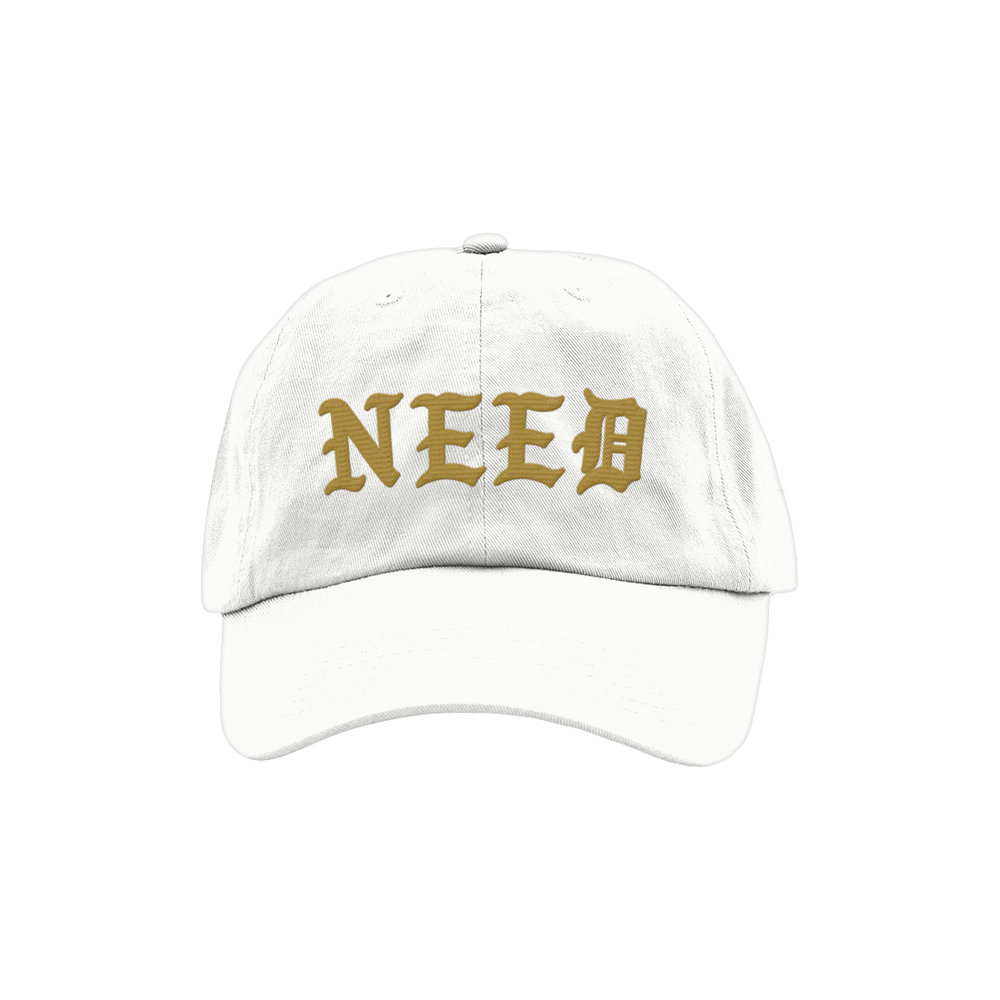 NEED BLACKLETTER DAD HAT (WHITE)