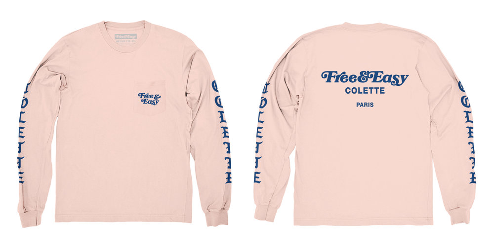 BLACKLETTER LS POCKET TEE (BLUSH)   STYLE #  LS0201   WHOLESALE: €34  SUGGESTED RETAIL: €75