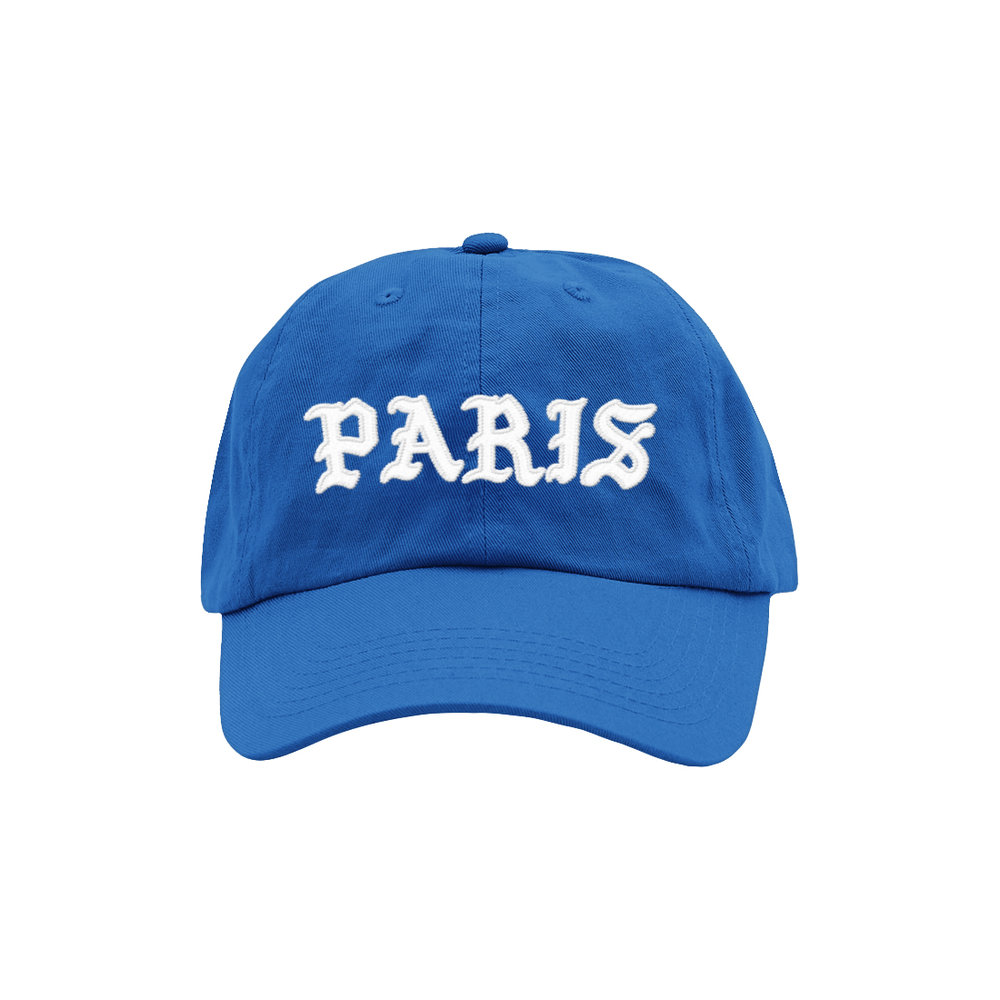 BLACKLETTER DAD HAT (BLUE)   STYLE #  DH0201   WHOLESALE: €20  SUGGESTED RETAIL: €45